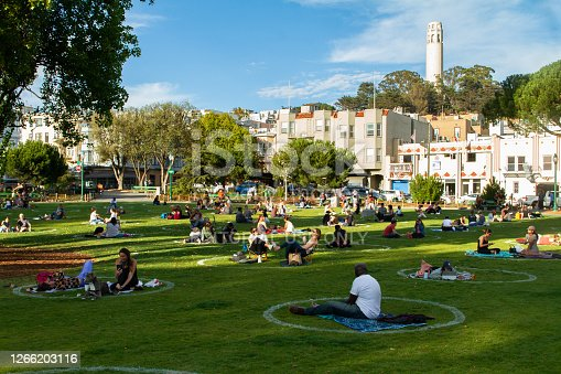 San Francisco, CA - August 13th, 2020: Local residents are doing social distancing in Washington Square Park during Covid-19