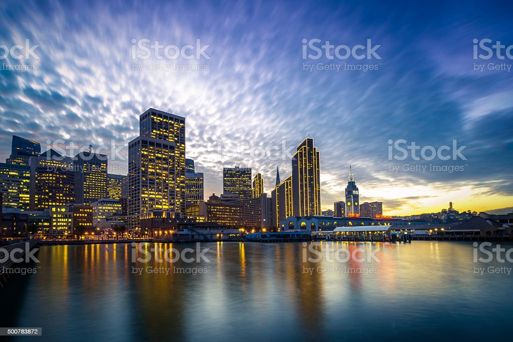 San Francisco Embarcadero at Night stock photo