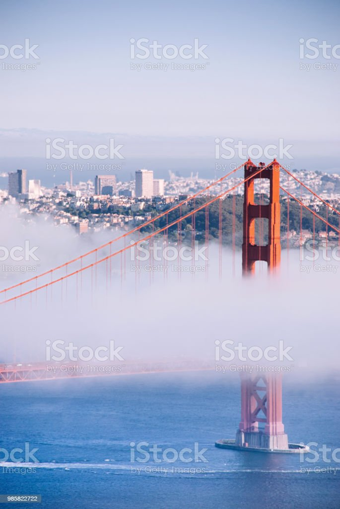 San Francisco famous Golden Gate bridge on foggy day dramatic evening light view from Marin Headland stock photo