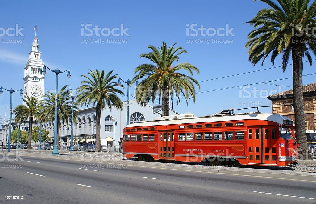 San Francisco - Ferry Building and Trolley stock photo