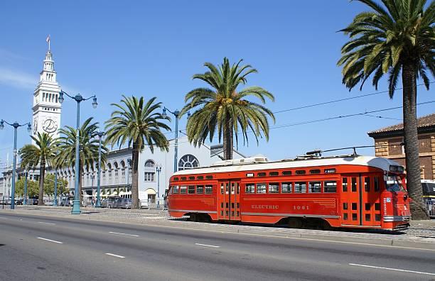 san francisco - ferry building and trolley - spårvagn bildbanksfoton och bilder