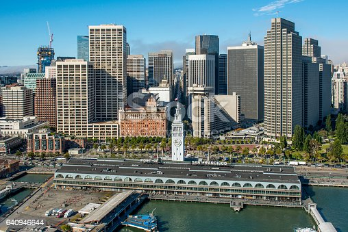 Aerial view of the Port Of San Francisco Ferry Building on the Embarcadero.