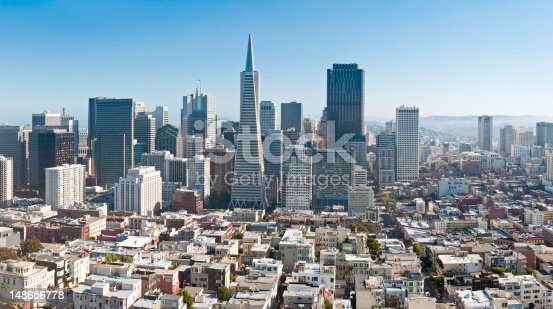 Aerial panoramic view across the low rise buildings of San Francisco's North Beach to the soaring modern landmarks of the downtown Financial District. ProPhoto RGB profile for maximum color fidelity and gamut.