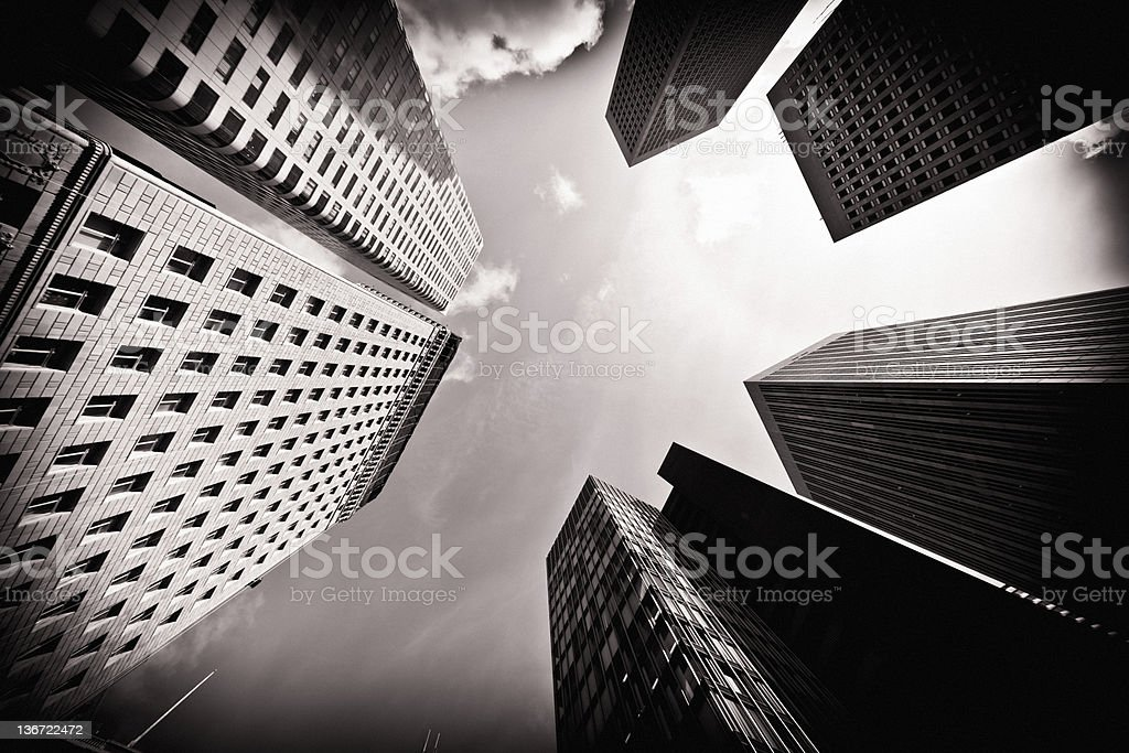 San Francisco Financial District In Sepia royalty-free stock photo