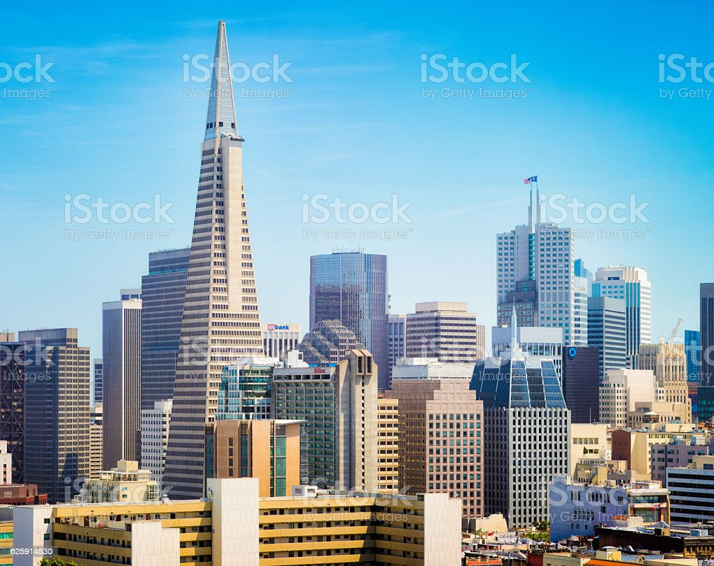 San Francisco Financial district panorama aerial view stock photo