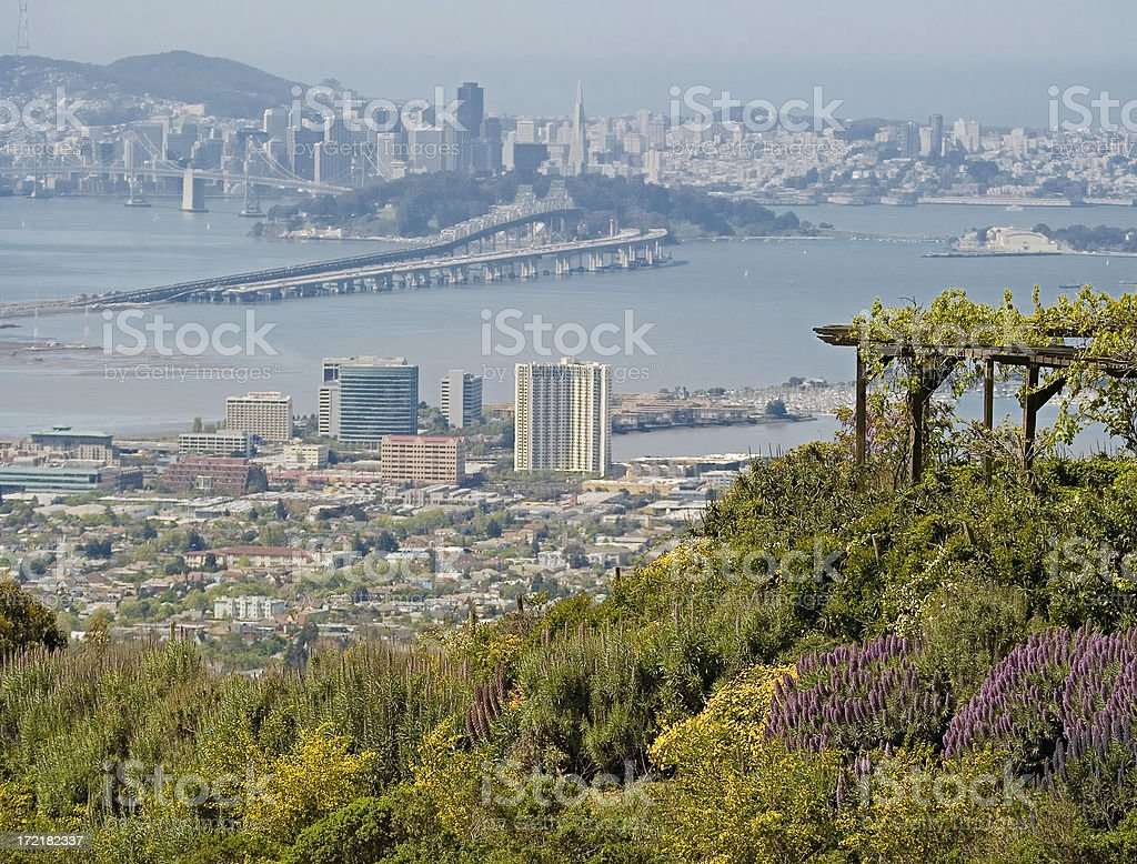San Francisco from East Bay, with new bridge under construction stock photo