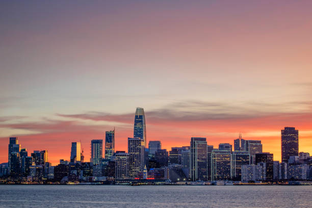 San Francisco From Treasure Island San Francisco shot from Treasure Island just after sunset jude beck stock pictures, royalty-free photos & images