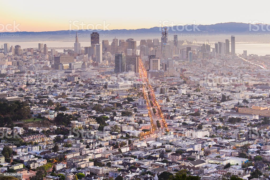 San francisco from twin peaks stock photo