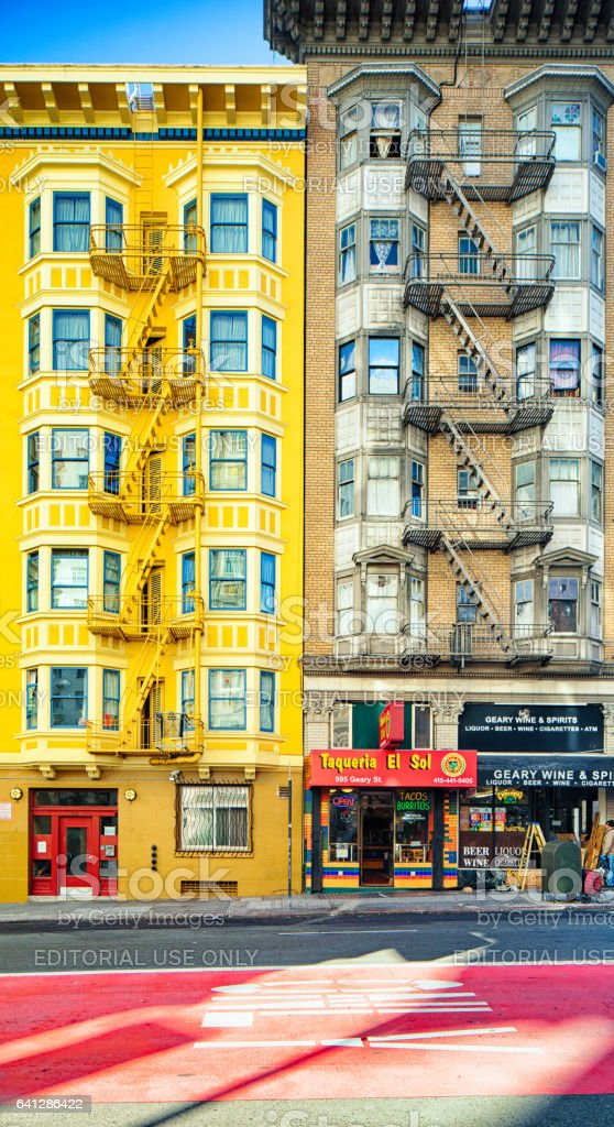 San Francisco Geary colorful street apartment buildings stock photo