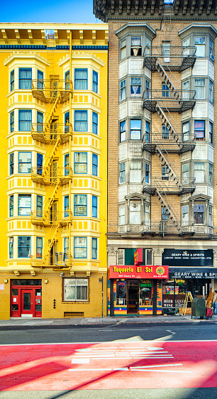 San Francisco Geary Colorful Street Apartment Buildings ...