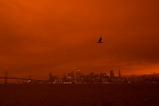 San Francisco glowing orange during California wildfires