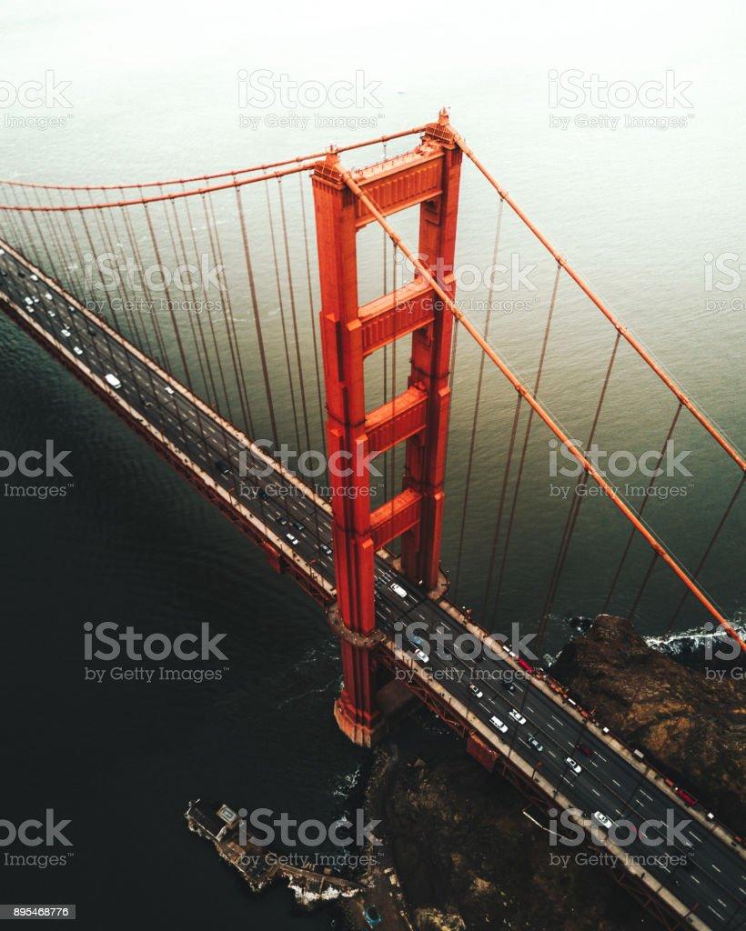 san francisco golden gate bridge aerial view stock photo