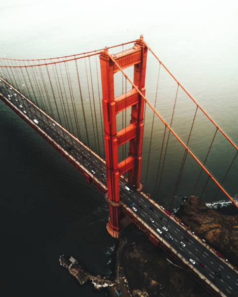 san francisco golden gate bridge aerial view san francisco golden gate bridge aerial view golden gate bridge stock pictures, royalty-free photos & images