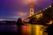 High quality stock photo of the Golden Gate Bridge in San Francisco from Fort Baker in the Marin Headlands.