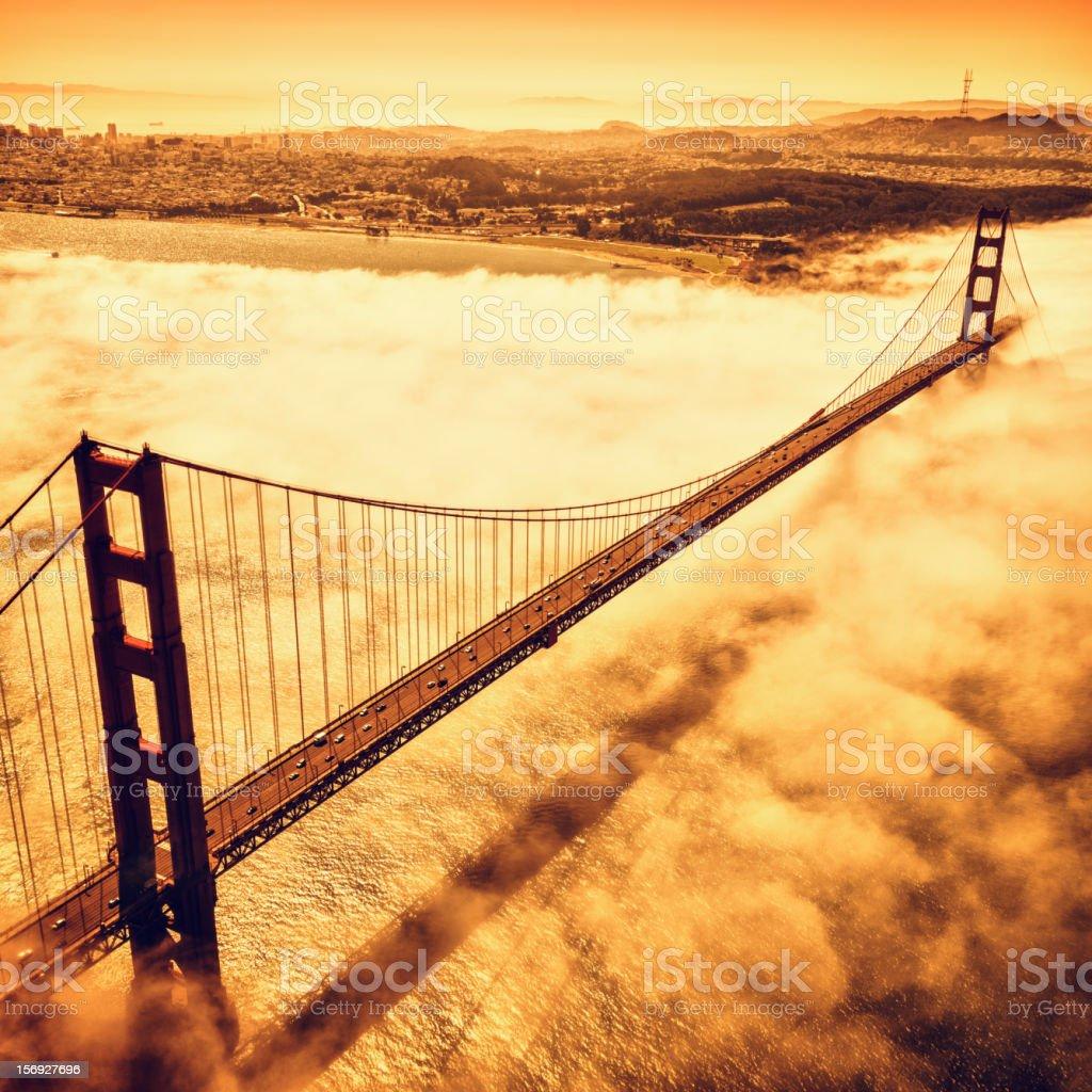 San Francisco Golden Gate Bridge from aircraft royalty-free stock photo