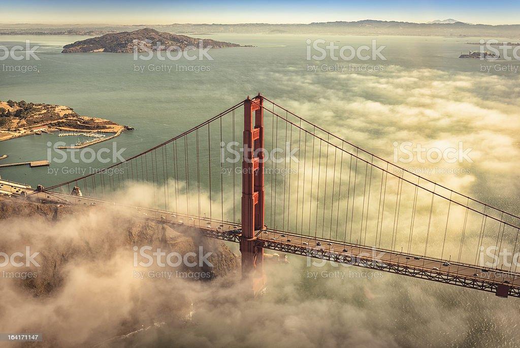 San Francisco Golden Gate Bridge from aircraft stock photo