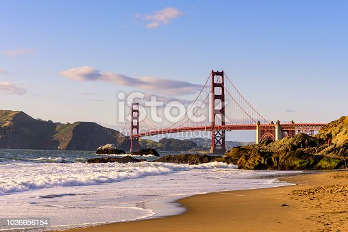 San Francisco Golden Gate Bridge Marshall beach at sunset, California