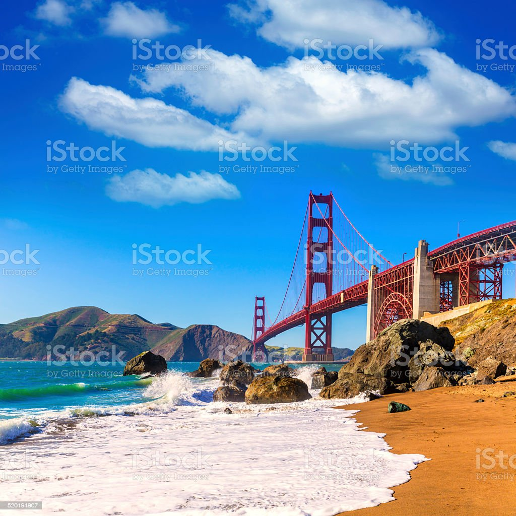 San Francisco Golden Gate Bridge Marshall beach California stock photo