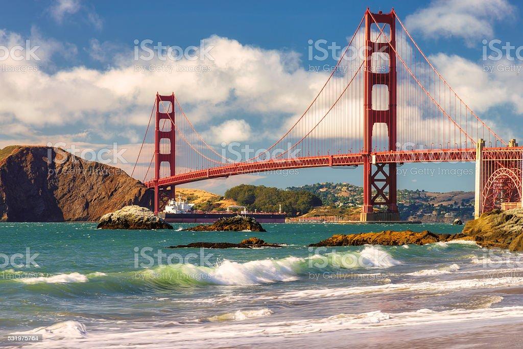 San Francisco Golden Gate Bridge Marshall beach California stock photo