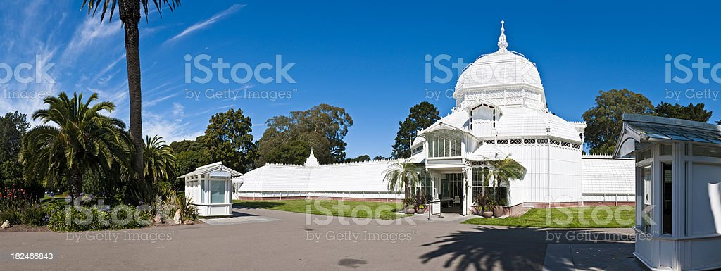 San Francisco Golden Gate Park Conservatory Flowers summer panorama California stock photo