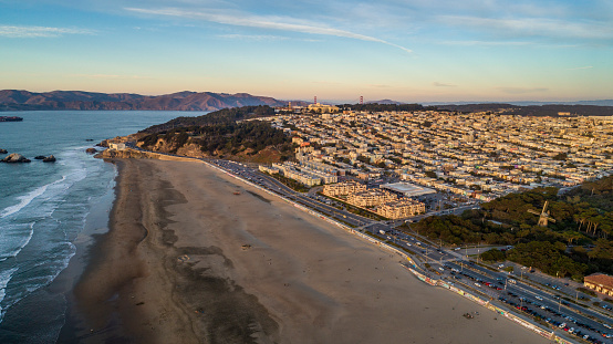 High quality aerial photos of San Francisco's Golden Gate Park and Ocean Beach.