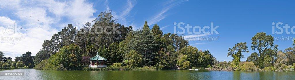 San Francisco Golden Gate Park tranquil lake pagoda panorama California stock photo