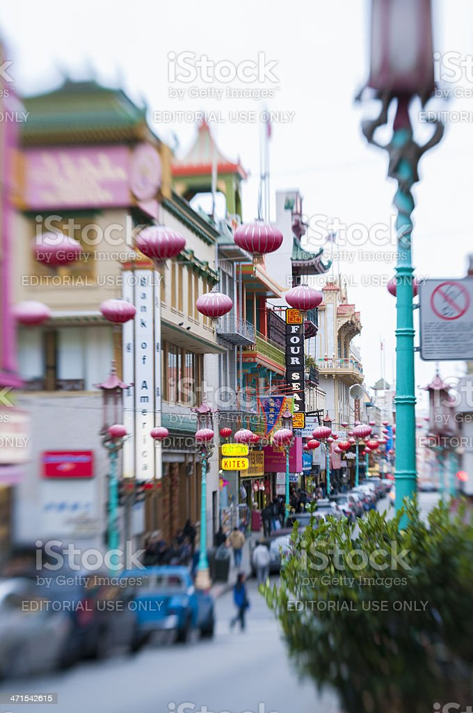 San Francisco Grant Street in Chinatown Travel Destination stock photo
