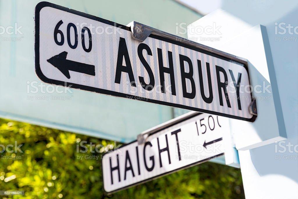 San Francisco Haight Ashbury street sign junction California stock photo