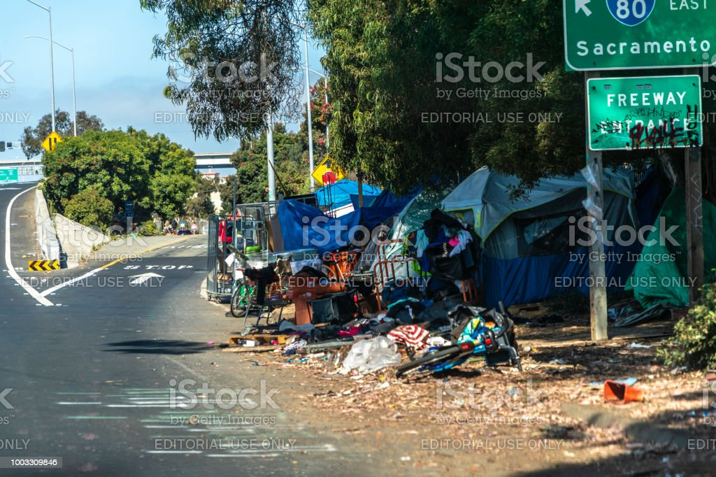 San Francisco Homeless Camp A homeless camp next to a freeway entrance in San Francisco, California California Stock Photo