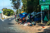 A homeless camp next to a freeway entrance in San Francisco, California