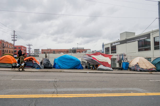 san francisco homeless camps - homelessness stock photos and pictures