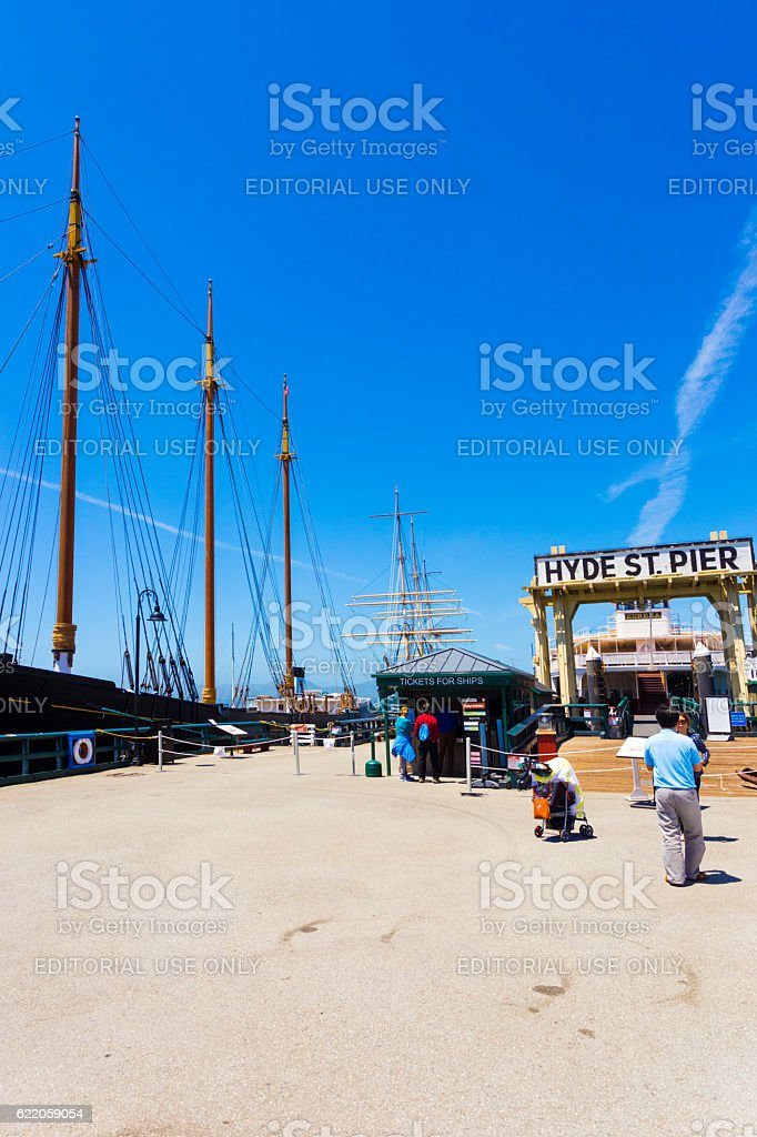 San Francisco Hyde St Pier Ships Docked Entrance stock photo