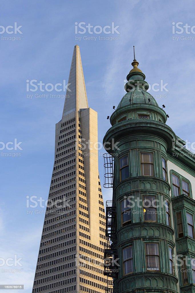 San Francisco Icons Transamerica Pyramid and the Columbus Building stock photo