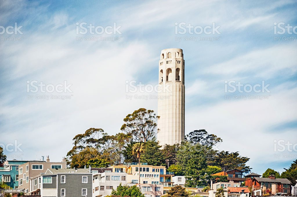 San Francisco Landmark Coit Tower on the Hill stock photo
