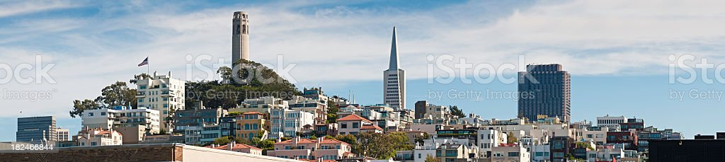 San Francisco landmark skyline panorama Coit Tower Transamerica Pyramid California stock photo