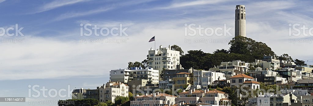 San Francisco landmarks lookouts Coit Tower Telegraph Hill panorama California stock photo