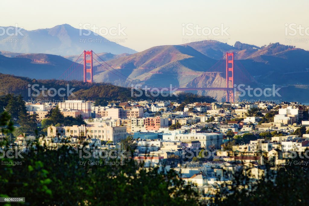 San Francisco Laurel and Presidio Heights panorama at sunset with Golden Gate bridge stock photo