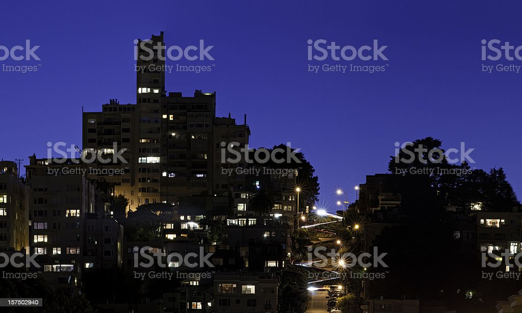 San Francisco Lombard Street curves illuminated blue dusk cityscape California royalty-free stock photo