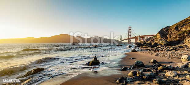 High quality stock photo of San Francisco's Marshall Beach, near Land's End and the furtest spot west in SF, located at the base of the Golden Gate Bridge