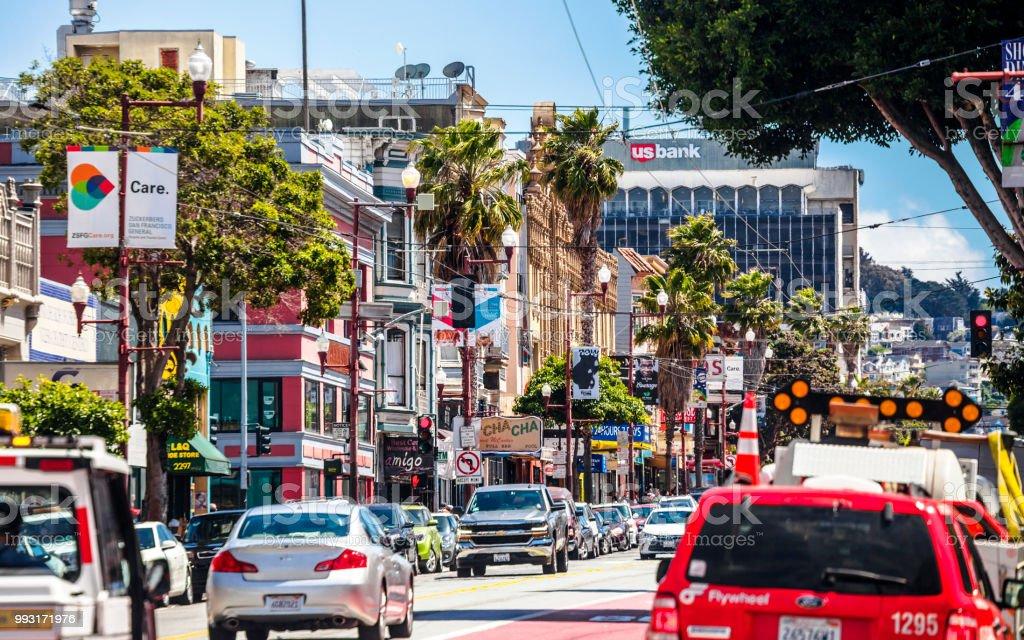 San Francisco - Mission District traffic stock photo