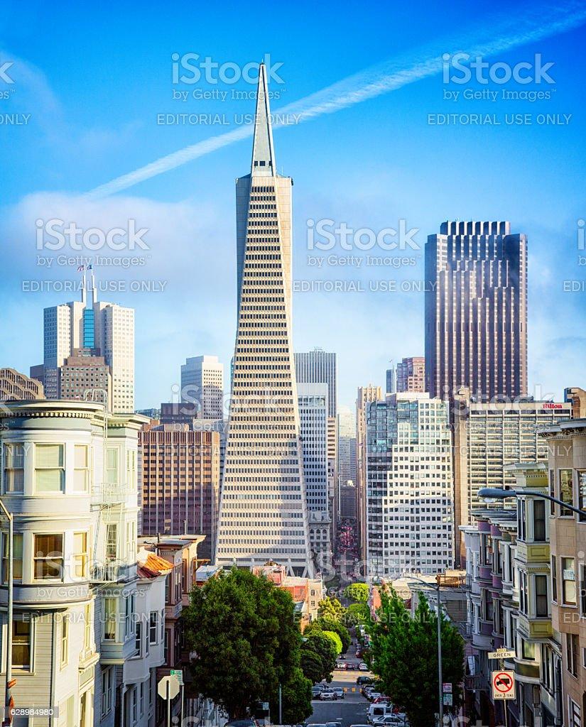San Francisco Montgomery street view with Transamerica pyramid building stock photo