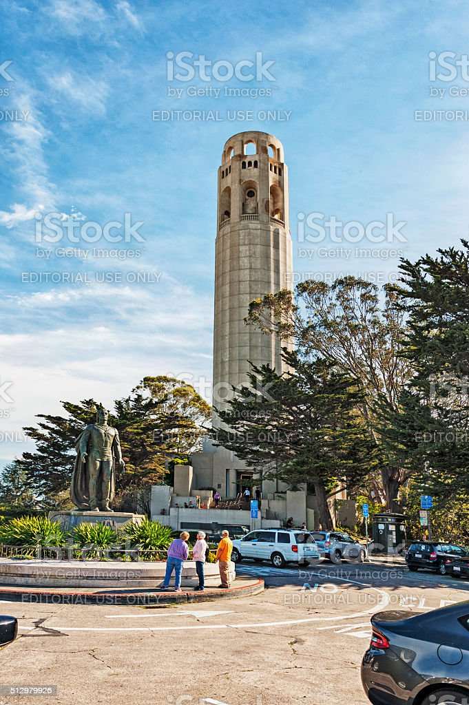 San Francisco Monument and Statue with Visitors stock photo