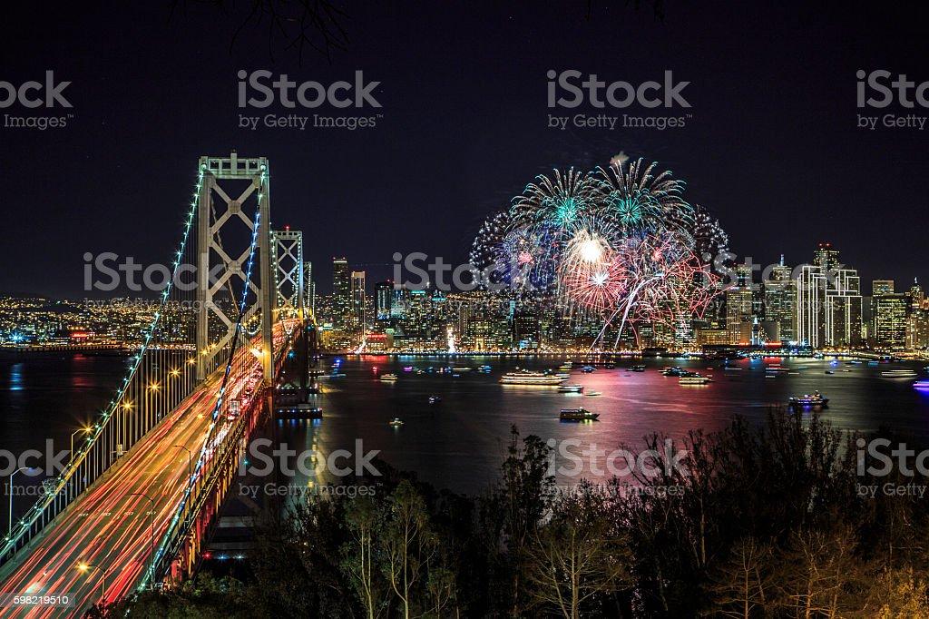 San Francisco new year fireworks stock photo