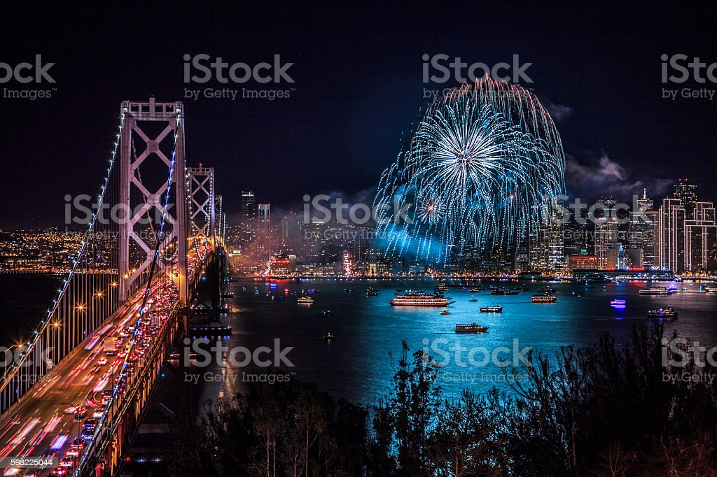 San Francisco new year fireworks foto royalty-free