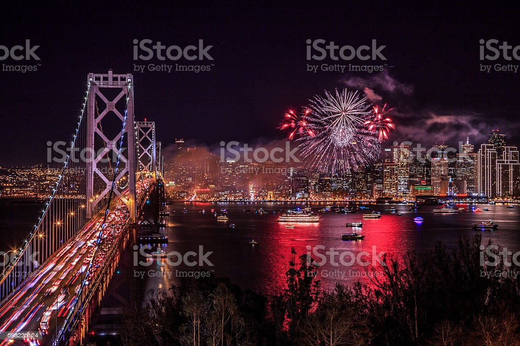 San Francisco new year fireworks foto royalty-free