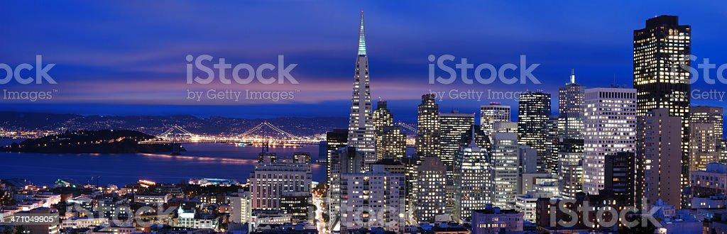 San Francisco - night Panorama 2 stock photo
