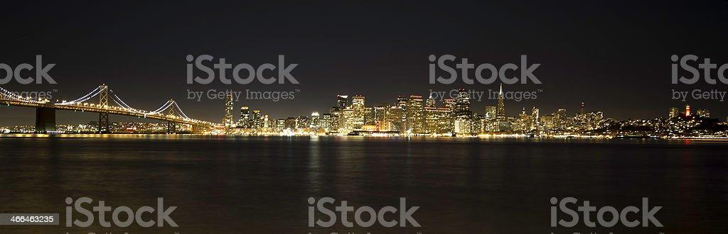 San Francisco Night skyline and Bay Bridge stock photo