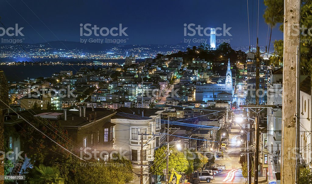 San Francisco night streets illuminated Telegraph Hill Coit Tower California stock photo