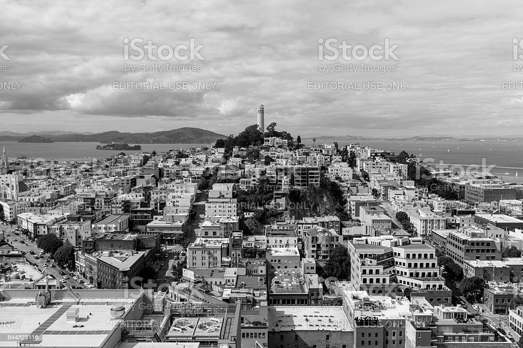 San Francisco North Beach and Coit Tower Neighborhoods Black and White stock photo