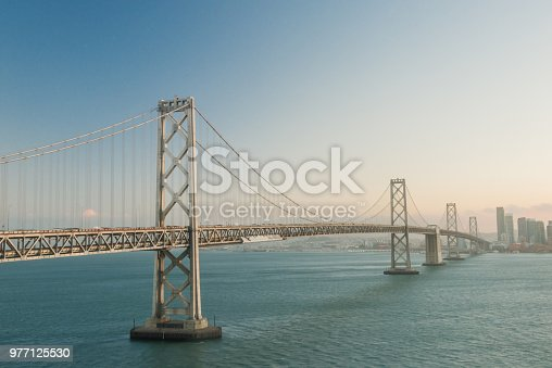 This is a color, royalty free stock photograph of the Oakland Bay Bridge leading into San Francisco, California, USA.